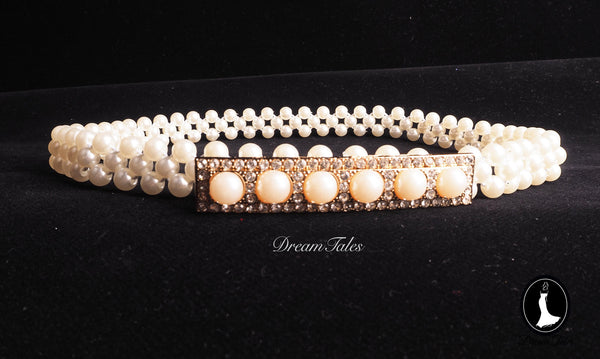 DT014A Buckle Pearl Diamond Belt - Ivory