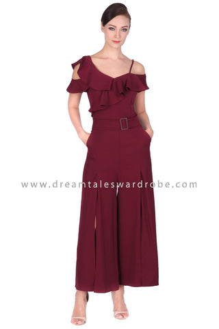 DT1500 Ruffle Cold Shoulder Palazzo Jumpsuit -  Maroon