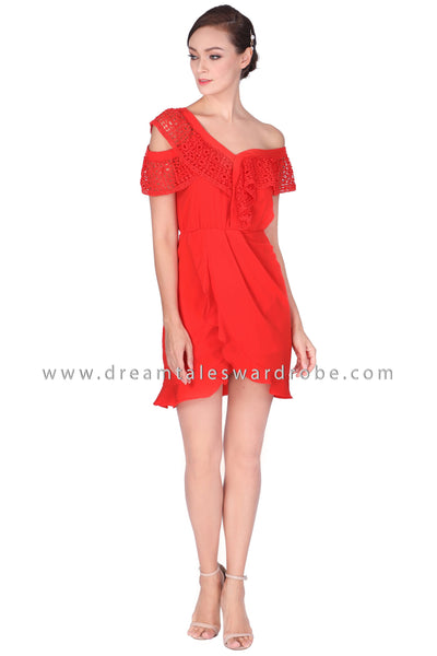 DT1501 Lace Ruffle Cold Shoulder Tulip Dress - Red