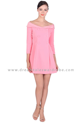 DT1512 Off The Shoulder Suit Dress - Pink