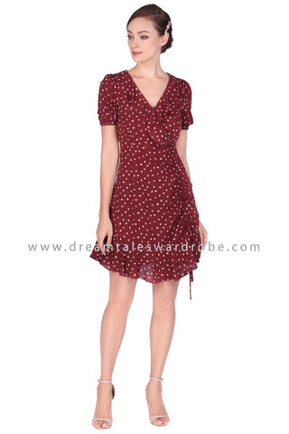 DT1513 Ruffle Hem V-Neck Ruched Dress -  Cherry Brown