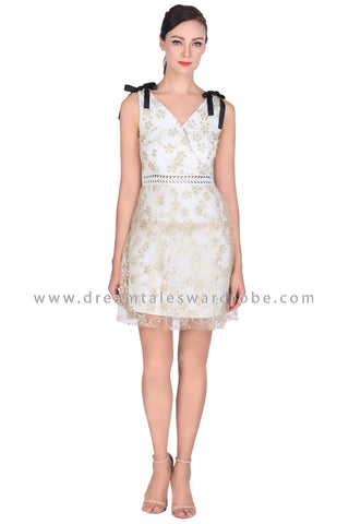 DT1514 Ribbon Shoulder Lace Overlay Dress -  Light Blue