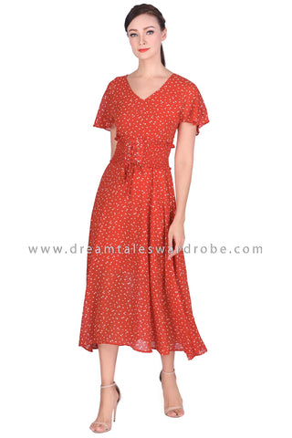DT1515 Flowy Sleeve Corset Waist Maxi Dress -  Red