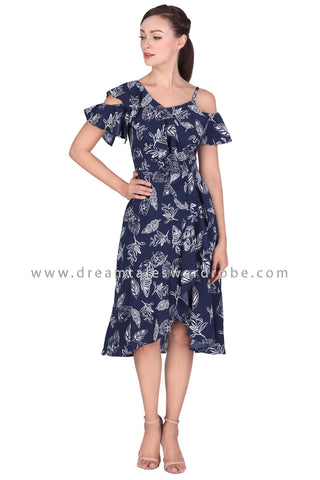 DT1516 Asymmetric Shoulder Ruffles Dress -  Blue