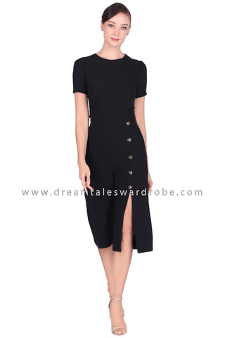 DT1518 Side Button Slit Culottes Jumpsuit - Black