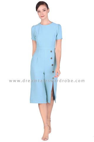 DT1518 Side Button Slit Culottes Jumpsuit -  Blue