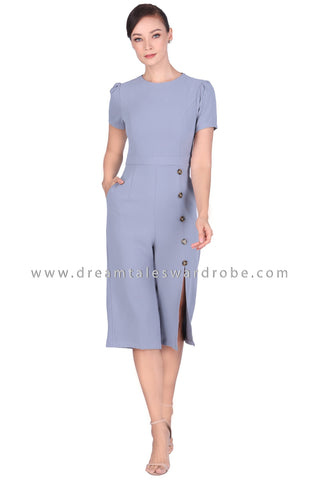 DT1518 Side Button Slit Culottes Jumpsuit - Gray