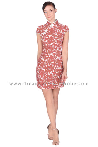 DT1519 Floral Cheongsam Dress - Brick Red