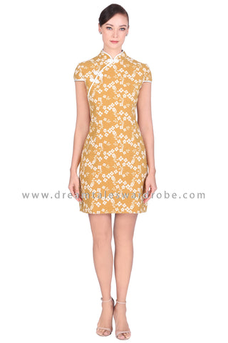 DT1519 Floral Cheongsam Dress -  Yellow