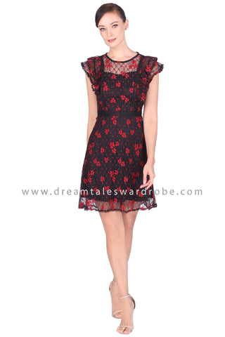 DT1520 Floral Mesh Lace Mini Dress - Black
