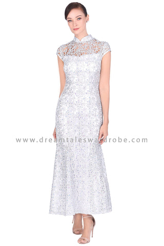 DT1521 Sequins Lace Cheongsam Evening Dress -  Silver