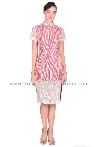 DT1522 Modern Sequins Cheongsam Dress -  Red ( Backorder )