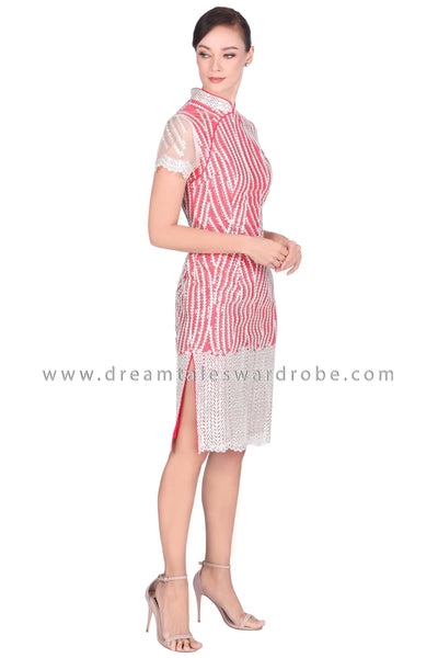 DT1522 Modern Sequins Cheongsam Dress -  Red