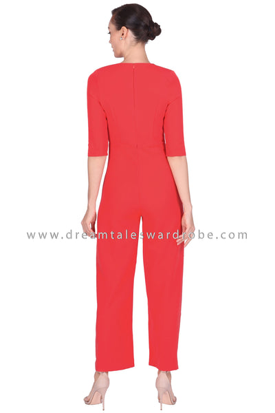 DT1523 Wrap Neck Button Palazzo Jumpsuit - Tangerine