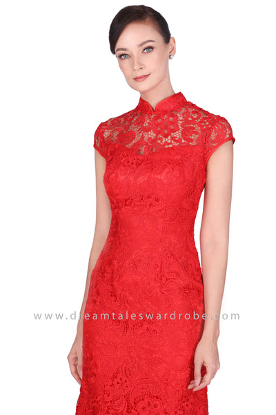 DT1526 Floral Lace Long Oriental Cheongsam Evening Dress -  Red