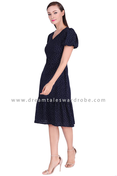 DT1530 Puff Sleeve Midi Belted Dress - Blue
