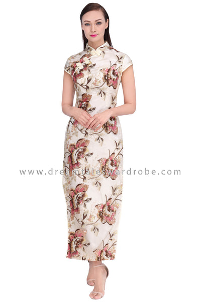 DT1533 High Slit Floral Oriental Cheongsam Dress -  Ivory