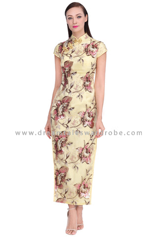 DT1533 High Slit Floral Oriental Cheongsam Dress - Yellow