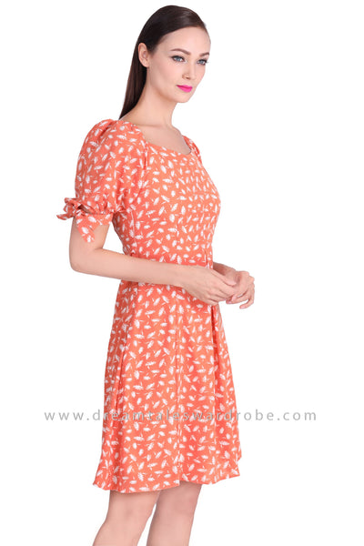 DT1537 Abstract Floral Print Dress -  Salmon