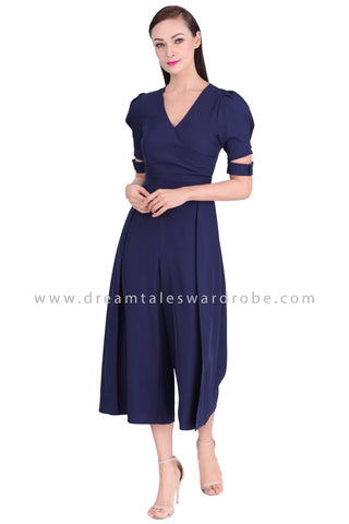 DT1539 Cut Out Sleeve V-Neck Culottes Jumpsuit  - Blue