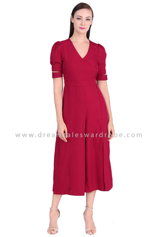 DT1539 Cut Out Sleeve V-Neck Culottes Jumpsuit  -  Maroon
