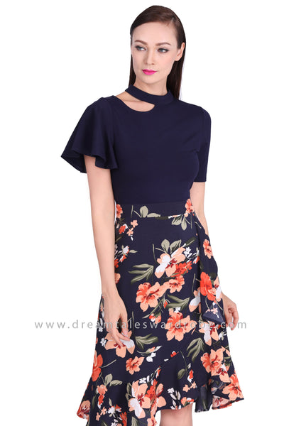 DT1541 One Sided Choker Neck Floral Dress -  Floral