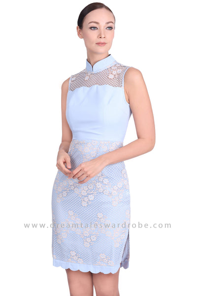 DT1542 Scallop Detail Floral Cheongsam Dress - Powder Blue