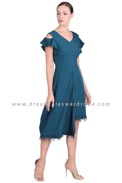 DT1544 Lace Hem Cold Shoulder Asymmetric Dress -  Teal