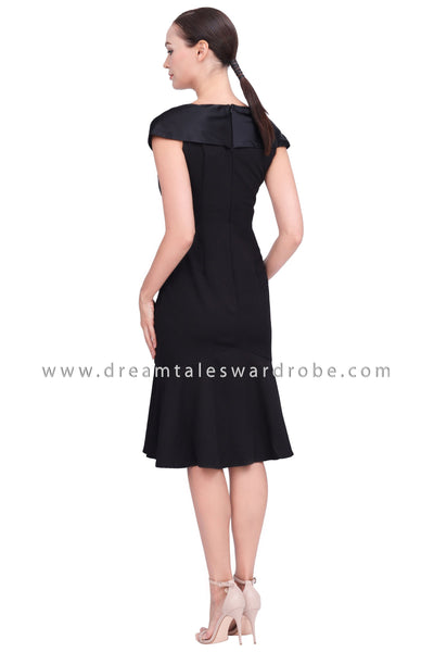 DT1546 Plunge V-Neck Midi Drop Hem Dress - Black