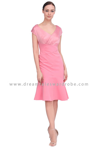DT1546 Plunge V-Neck Midi Drop Hem Dress - Pink