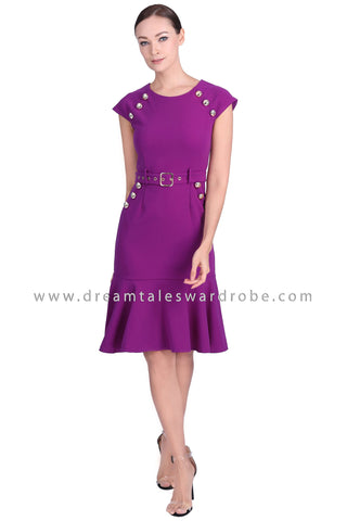 DT1547 Embellished Cap Sleeve Drop Hem Dress -  Purple