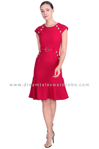 DT1547 Embellished Cap Sleeve Drop Hem Dress - Red