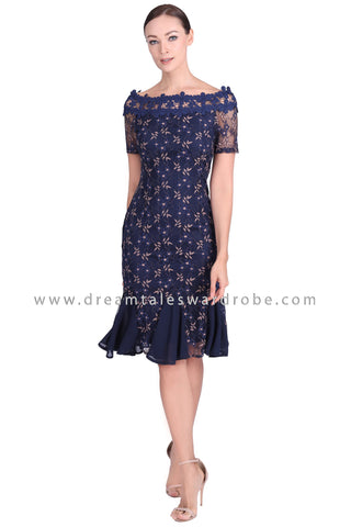 DT1548 Boat Neck Floral Lace Ruffle Dress - Blue
