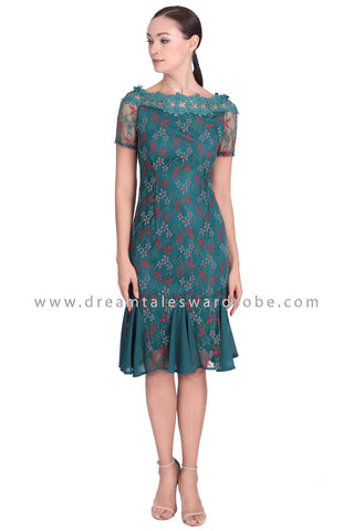DT1548 Boat Neck Floral Lace Ruffle Dress -  Green