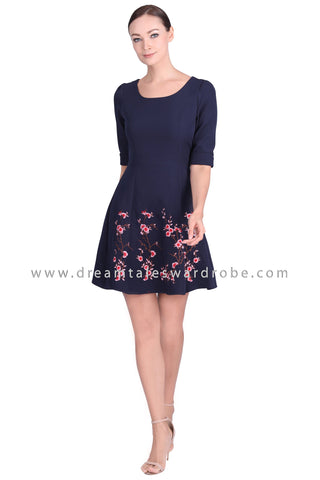 DT1550 Floral Embroidered Half Sleeve Dress - Blue