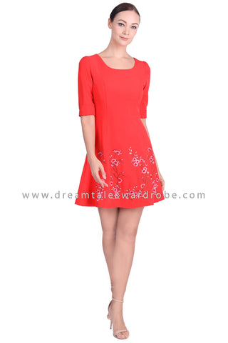 DT1550 Floral Embroidered Half Sleeve Dress -  Orange