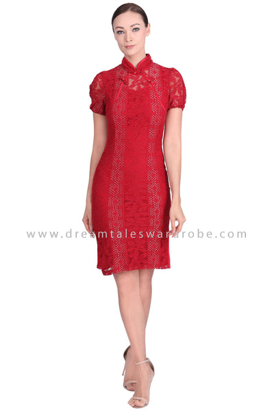 DT1551 Statement Floral Lace Cheongsam Dress -  Red