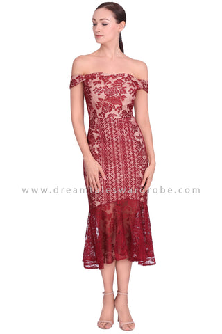 DT1552 Lace Contrast Mermaid Hem Cocktail Dress - Red