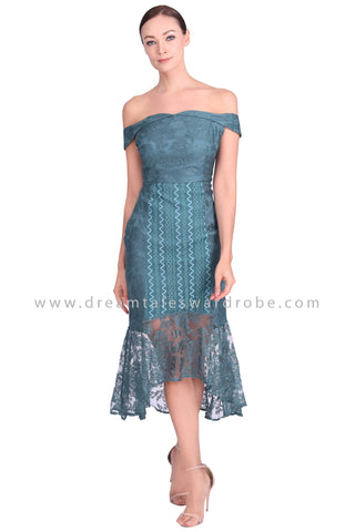 DT1552 Lace Contrast Mermaid Hem Cocktail Dress -  Teal
