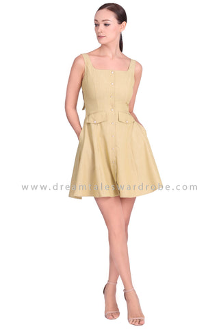 DT1553 Sleeveless Square Neck Dress -  Apple Green