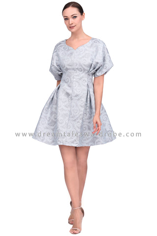 DT1554 Structurd Metallic Brocade Party Dress -  Grey
