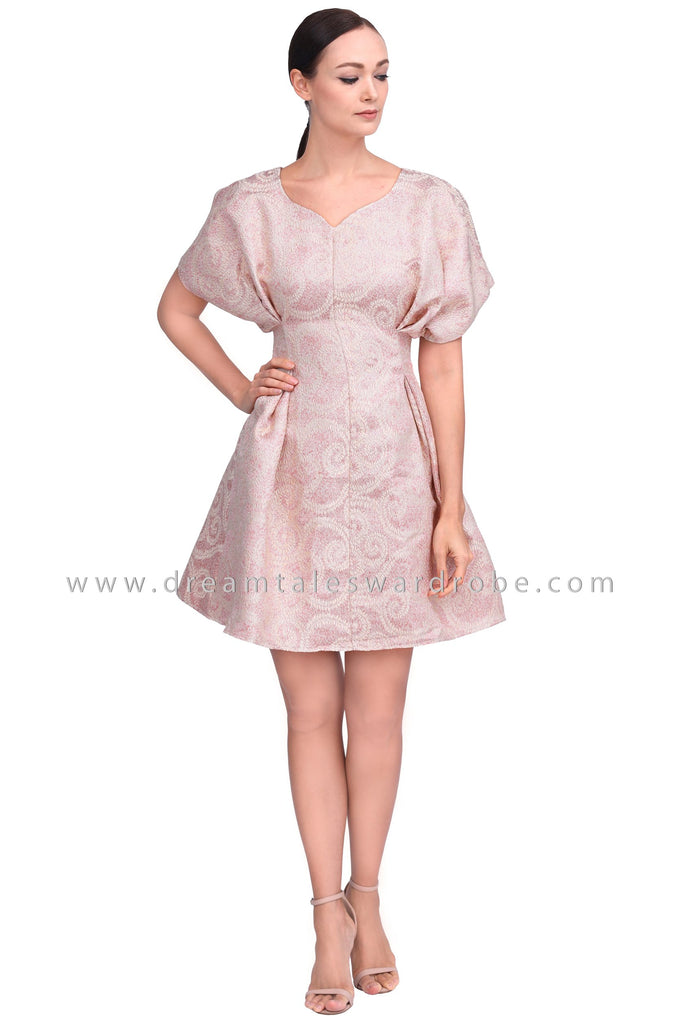 DT1554 Structurd Metallic Brocade Party Dress - Pink