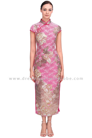 DT1555 Modern Floral Sequin Long Oriental Cheongsam Dress -  Pink