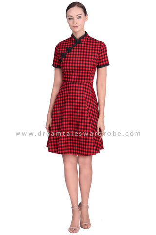 DT1557 Gingham Modern Cheongsam Dress -  Red