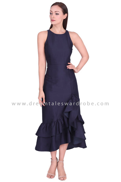 DT1561 Sleeveless Tiered Asymmetric Ruffle Evening Dress - Blue