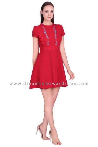 DT1563 Floral Embroidered Dress - Red