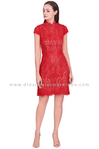 DT1567 Statement Lace Cheongsam Dress  - Red