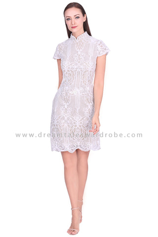 DT1567 Statement Lace Cheongsam Dress  -  White