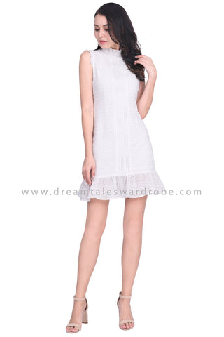 DT1575 High Ruched Neck Eyelet Lace Dress -  White