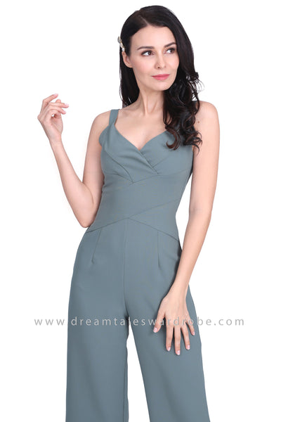 DT1576 Strappy V Neck Waist Panel Jumpsuit - Green